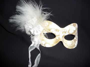 Gold & Cream Lace masquerade mask